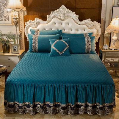 2018新款好眠好梦   艾薇儿系列水晶绒系列单床裙 床裙三件套 120*200cm 艾薇儿-宝蓝