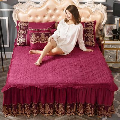 2018新款好眠好梦罗曼情怀水晶绒系列拆卸式单床裙 120cmx200cm 罗曼情怀 -拉菲红