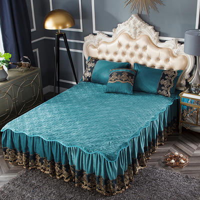 2018新款好眠好梦罗曼情怀水晶绒系列拆卸式单床裙 120cmx200cm 罗曼情怀-橄榄绿