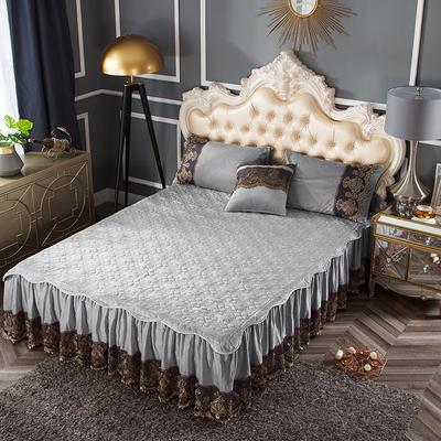 2018新款好眠好梦罗曼情怀水晶绒系列拆卸式单床裙 120cmx200cm 罗曼情怀-银灰色