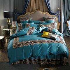 2019新款艾丽卡床单床裙款四件套六件套 方垫 宝蓝