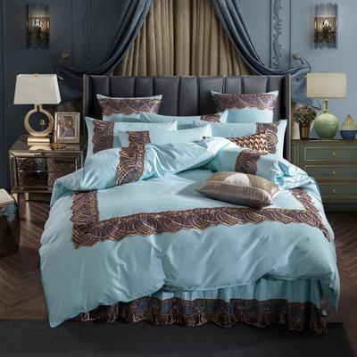 2019新款艾丽卡床单床裙款四件套六件套 1.5-1.8m床(床单款) 天空蓝
