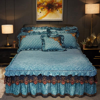 2019新款迷迭香暖绒单床裙可配床裙三件套 单床裙:150cmx200cmx45cm 迷迭香-湖蓝
