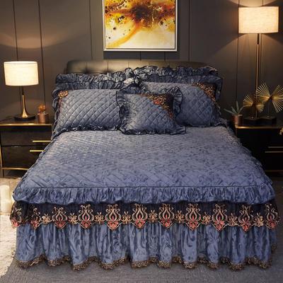 2019新款迷迭香暖绒单床裙可配床裙三件套 单床裙:150cmx200cmx45cm 迷迭香-灰色