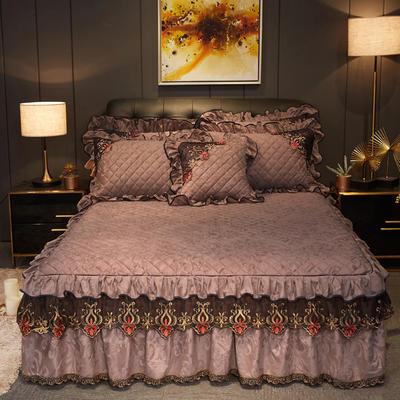 2019新款迷迭香暖绒单床裙可配床裙三件套 单床裙:150cmx200cmx45cm 迷迭香-咖啡