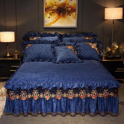 2019新款迷迭香暖绒单床裙可配床裙三件套 单床裙:150cmx200cmx45cm 迷迭香-深蓝