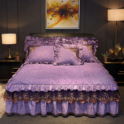 2019新款迷迭香暖绒单床裙可配床裙三件套 单床裙:150cmx200cmx45cm 迷迭香-优雅紫