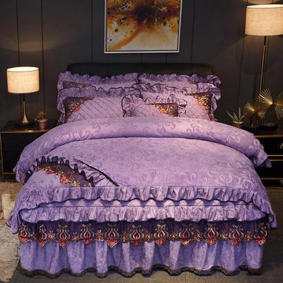 2019新款迷迭香暖绒四件套(不夹棉) 1.5m床裙款四件套 迷迭香-优雅紫