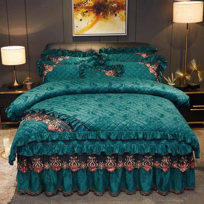 2019新款迷迭香暖绒四件套(夹棉) 1.5m床裙款四件套 迷迭香-翡翠绿