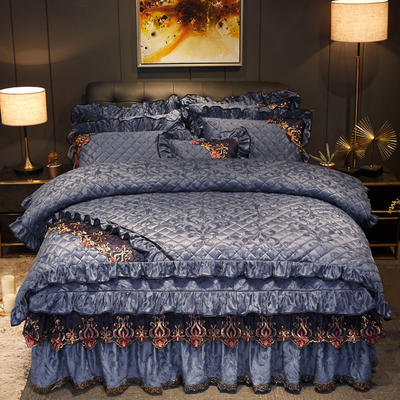 2019新款迷迭香暖绒四件套(夹棉) 1.5m床裙款四件套 迷迭香-灰色
