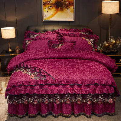 2019新款迷迭香暖绒四件套(夹棉) 1.5m床裙款四件套 迷迭香-酒红