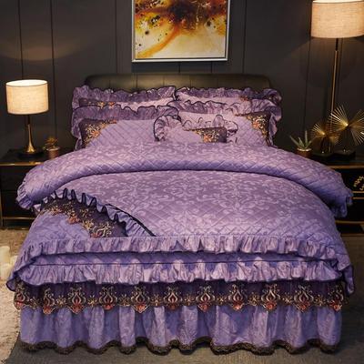 2019新款迷迭香暖绒四件套(夹棉) 1.5m床裙款四件套 迷迭香-优雅紫