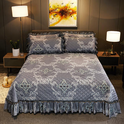 2019新款水晶绒床盖款 单床盖:245cmx250cm 一见倾心-贵族灰