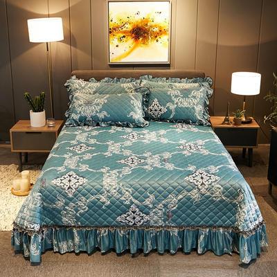 2019新款水晶绒床盖款 单床盖:245cmx250cm 一见倾心-湖蓝