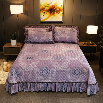 2019新款水晶绒床盖款 单床盖:245cmx250cm 一见倾心-优雅紫