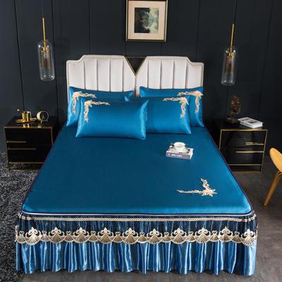 2020新款艾玛仕--拆卸冰丝凉席 150*200*45cm床裙款三件套 艾玛仕-宝石蓝