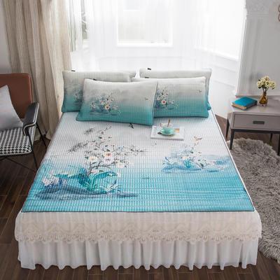 2020新款冰丝乳胶凉席床裙款 150*200*45cm床裙款三件套 水玲珑-浅蓝