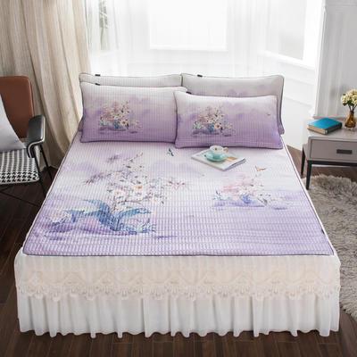 2020新款冰丝乳胶凉席床裙款 150*200*45cm床裙款三件套 水玲珑-浅紫