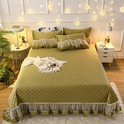 2020新款-真丝绒蕾丝花边床盖 2.45*250cm 香槟绿