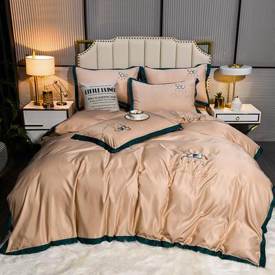 2021新款60水洗真丝绣花四件套 1.8m床单款四件套 绅士-香槟色