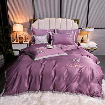 2021新款60水洗真丝绣花四件套 1.8m床单款四件套 绅士-优雅紫
