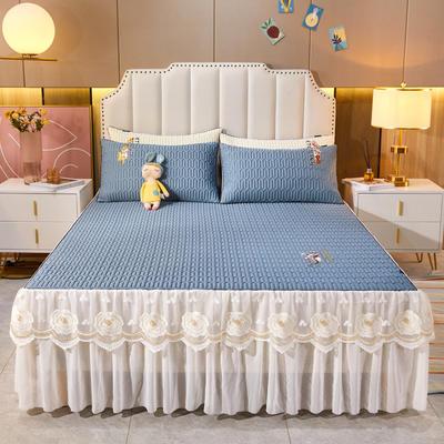 2021新款-中国风床裙款乳胶凉席三件套 1.8米三件套 中国风-宾利蓝