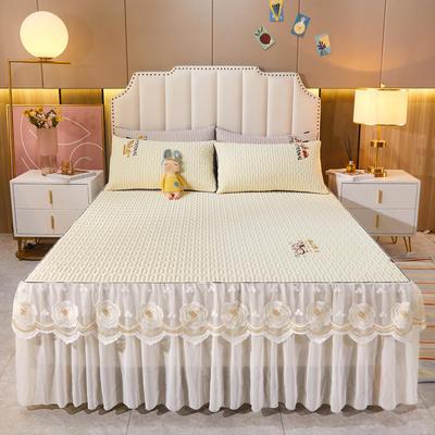 2021新款-中国风床裙款乳胶凉席三件套 1.8米三件套 中国风-淡雅米
