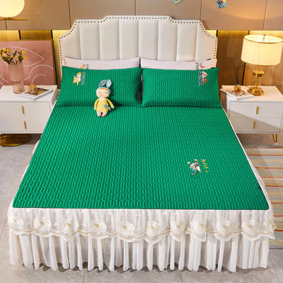 2021新款-中国风床裙款乳胶凉席三件套 1.8米三件套 中国风-翡翠绿