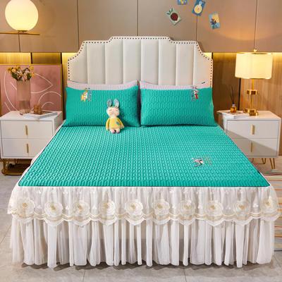 2021新款-中国风床裙款乳胶凉席三件套 1.8米三件套 中国风-橄榄绿