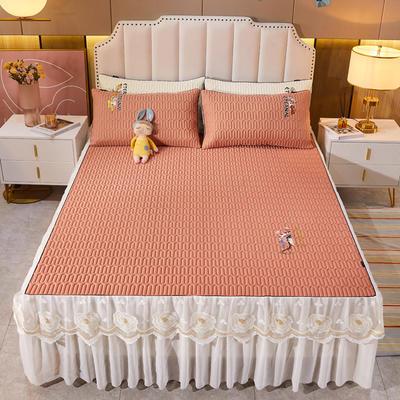 2021新款-中国风床裙款乳胶凉席三件套 1.8米三件套 中国风-橘橙黄