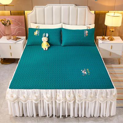 2021新款-中国风床裙款乳胶凉席三件套 1.8米三件套 中国风-孔雀绿