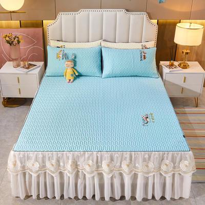2021新款-中国风床裙款乳胶凉席三件套 1.8米三件套 中国风-天空蓝