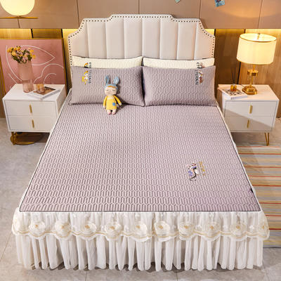 2021新款-中国风床裙款乳胶凉席三件套 1.8米三件套 中国风-烟熏紫