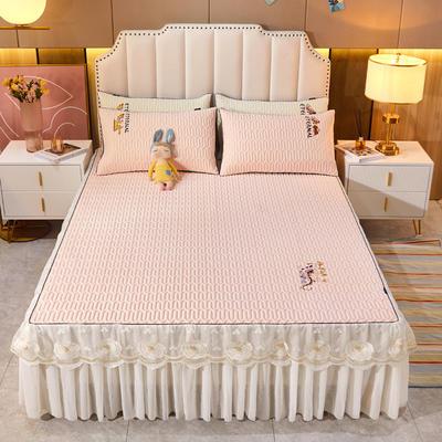 2021新款-中国风床裙款乳胶凉席三件套 1.8米三件套 中国风-樱花粉