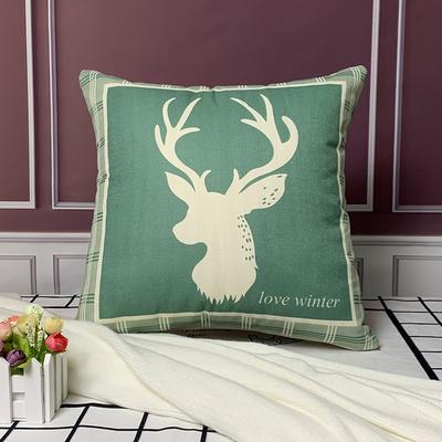 亚麻抱枕含芯45*45 45x45cm 绿色鹿