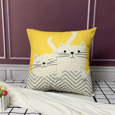 亚麻抱枕含芯45*45 45x45cm 小猫