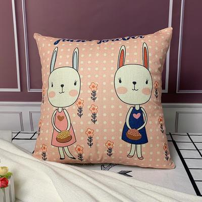 亚麻抱枕含芯45*45 45x45cm 兔子
