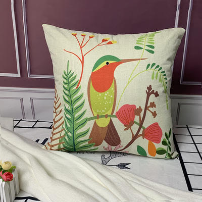 亚麻抱枕含芯45*45 45x45cm 啄木鸟
