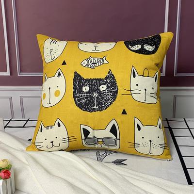 亚麻抱枕含芯45*45 45x45cm 黑白猫