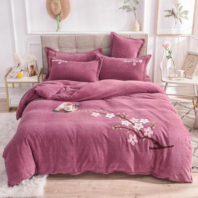 2019新款牛奶绒四件套 1.5m(5英尺)床单款 桃花-紫豆沙