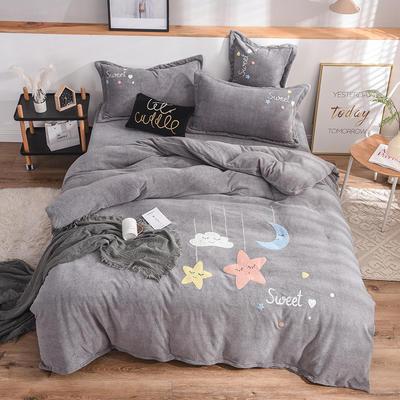 2019新款牛奶绒四件套 1.5m(5英尺)床单款 星星-灰
