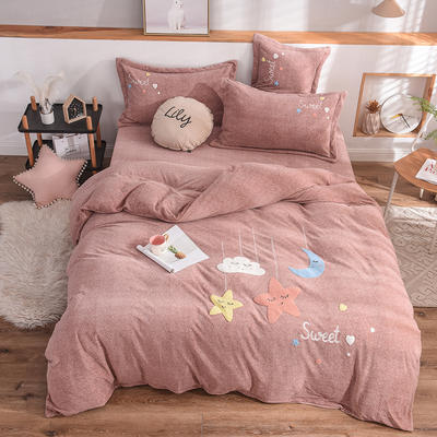2019新款牛奶绒四件套 1.5m(5英尺)床单款 星星-咖