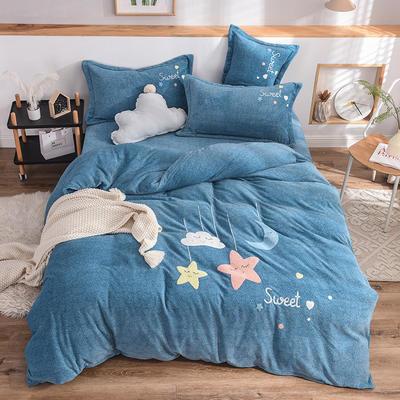 2019新款牛奶绒四件套 1.5m(5英尺)床单款 星星-兰