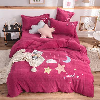 2019新款牛奶绒四件套 1.5m(5英尺)床单款 星星-玫红