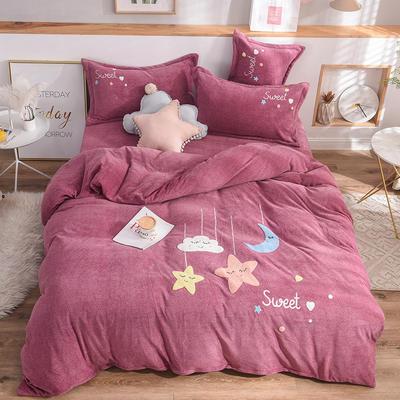 2019新款牛奶绒四件套 1.5m(5英尺)床单款 星星-紫豆沙