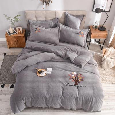 2019新款牛奶绒四件套 1.5m(5英尺)床单款 叶子--灰色
