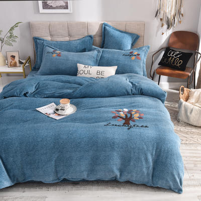 2019新款牛奶绒四件套 1.5m(5英尺)床单款 叶子--蓝色