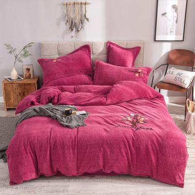 2019新款牛奶绒四件套 1.5m(5英尺)床单款 叶子--玫红