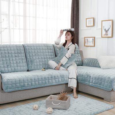 20189新款-沙发垫法莱绒 70*70cm 法莱绒-淡雅青