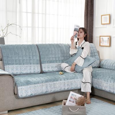 20189新款-沙发垫法莱绒(花边款) 70*70cm 法莱绒淡雅青-花边款